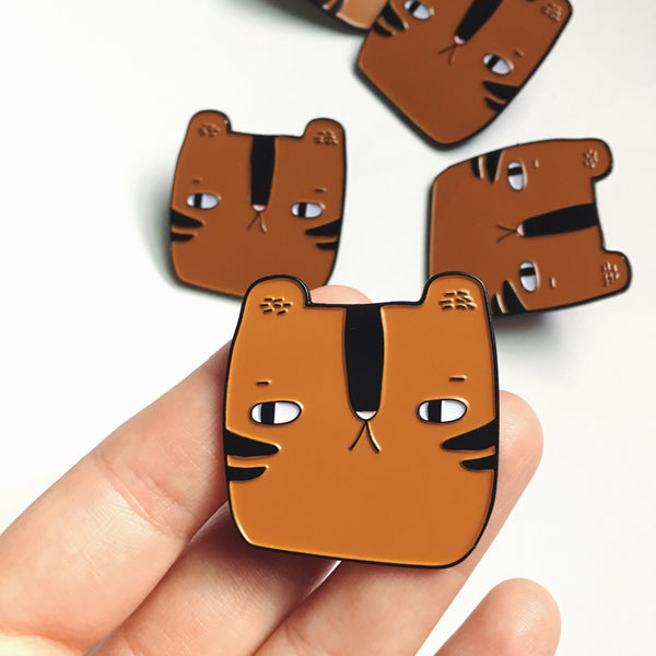 BUY 2 PINS, GET 1 FREE! 🔸 Cinnamon the Tiger - Soft Enamel Pin - Ready to Ship - sleepy king