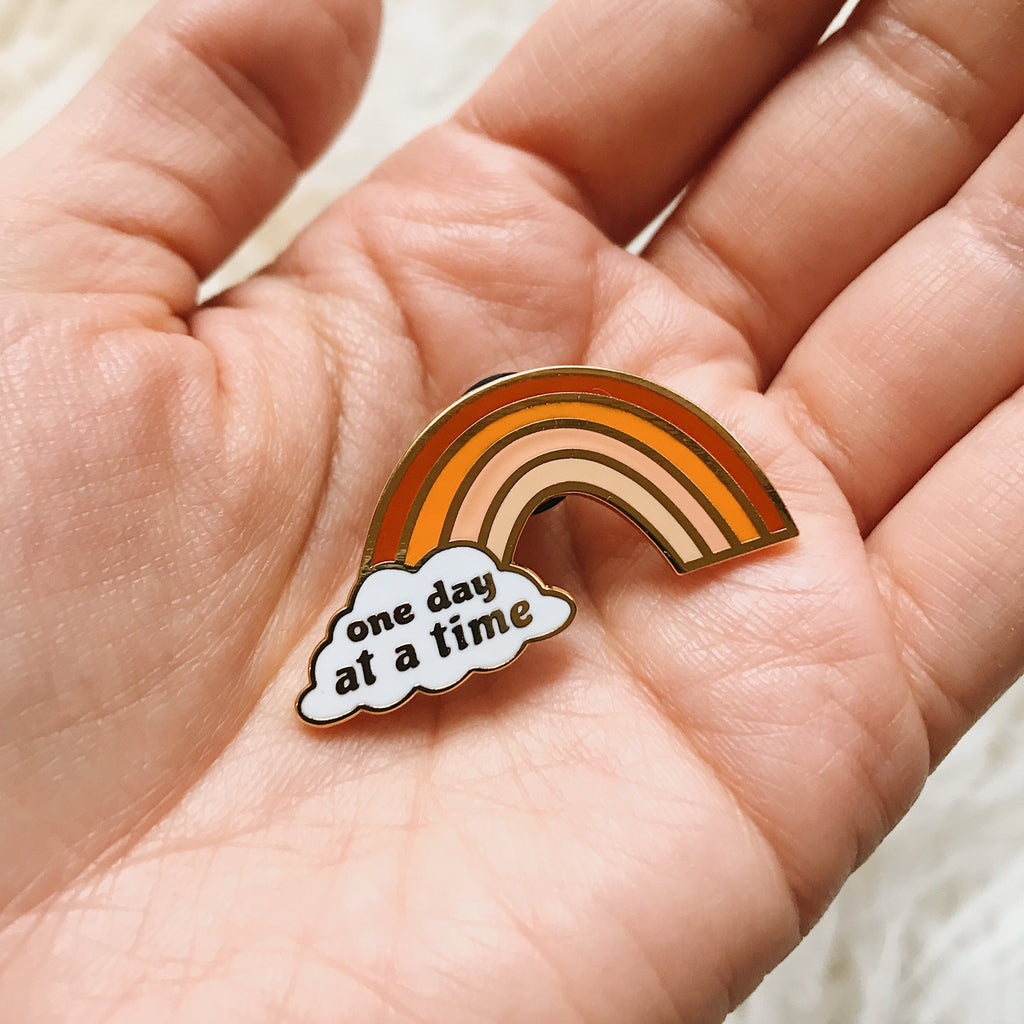 One Day At a Time Rainbow - Rust Orange - Hard Enamel Pin with Gold Lines - Proceeds donated to Butte County Campfire survivors - Ready to Ship - sleepy king