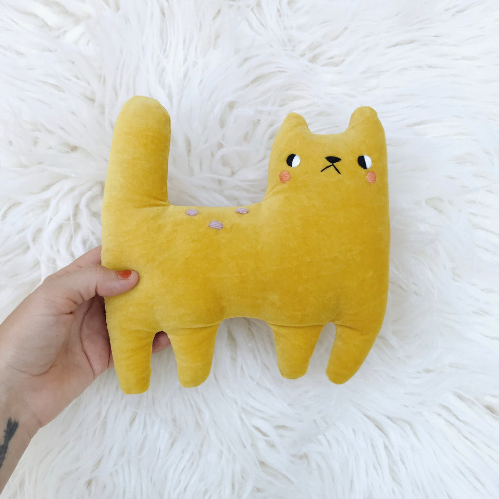 Yellow blushing organic velveteen cat