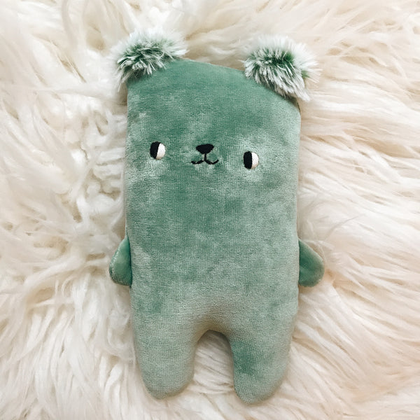 Minty the Organic Bamboo Bear with Furry Ears - sleepy king
