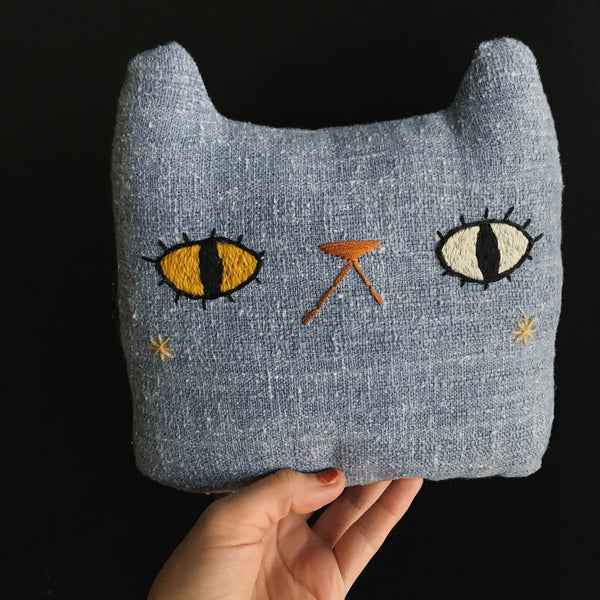 Denim odd eyed cat with stars on his cheeks - Large Pillow - Ready to Ship