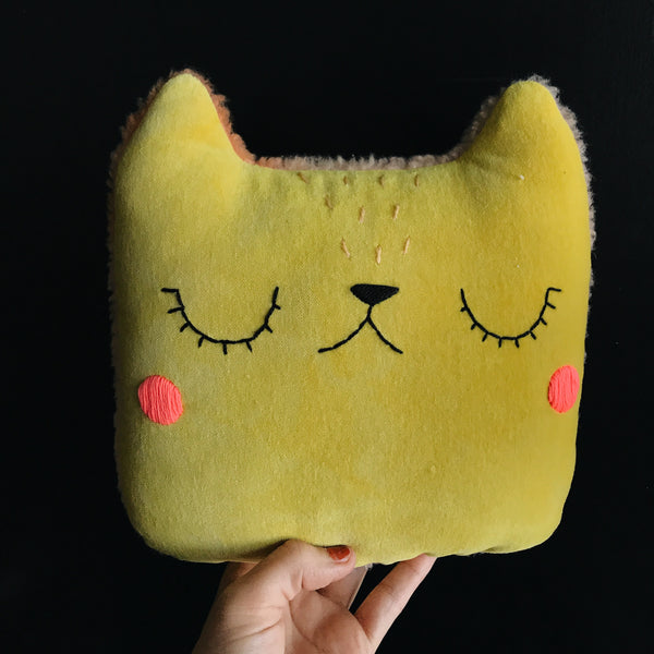 Mustard velveteen cat with hot pink cheeks - Large Pillow - Ready to Ship