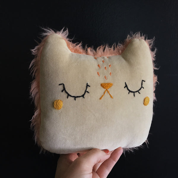 Sleepy white chocolate cat with blushing cheeks - Small Pillow - Ready to Ship