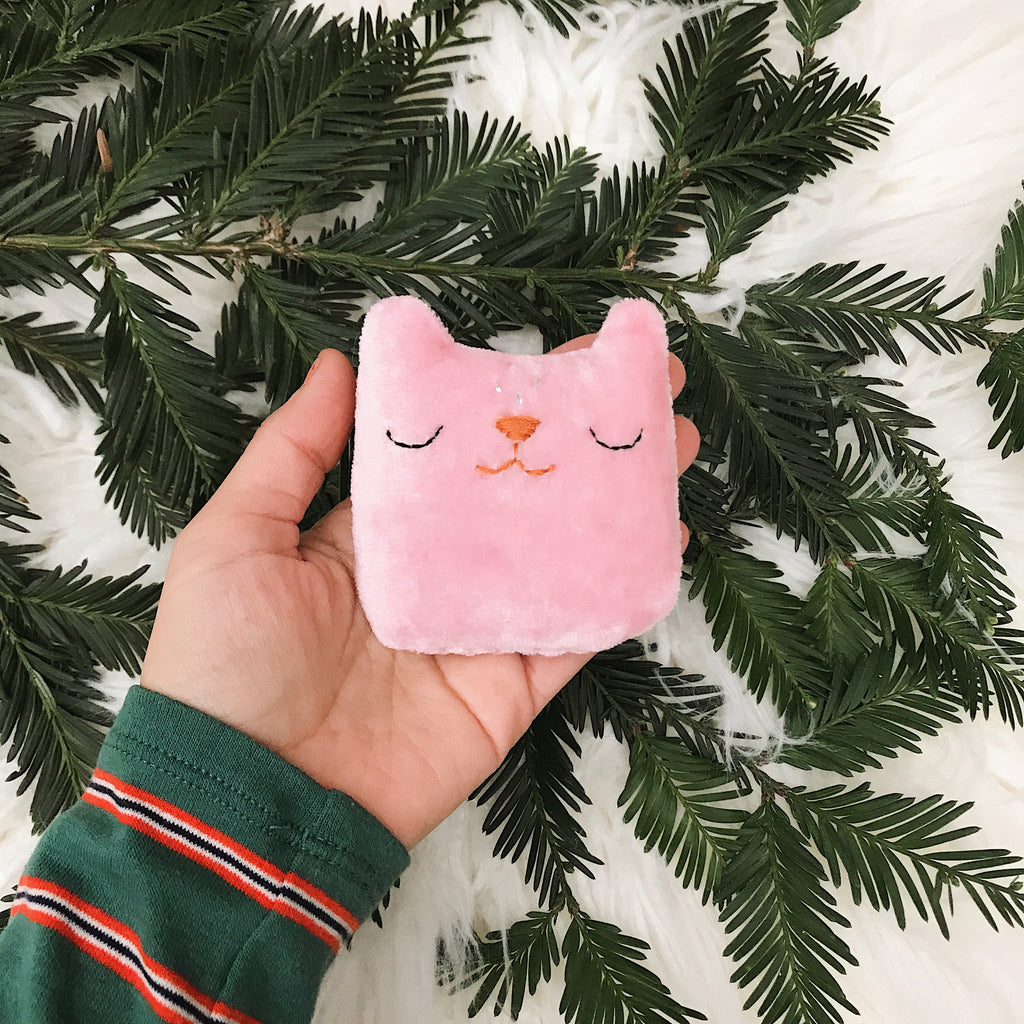 Pink Berry Cat Ornament - sleepy king