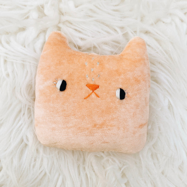Peach Bellini the Cat - Small Pillow