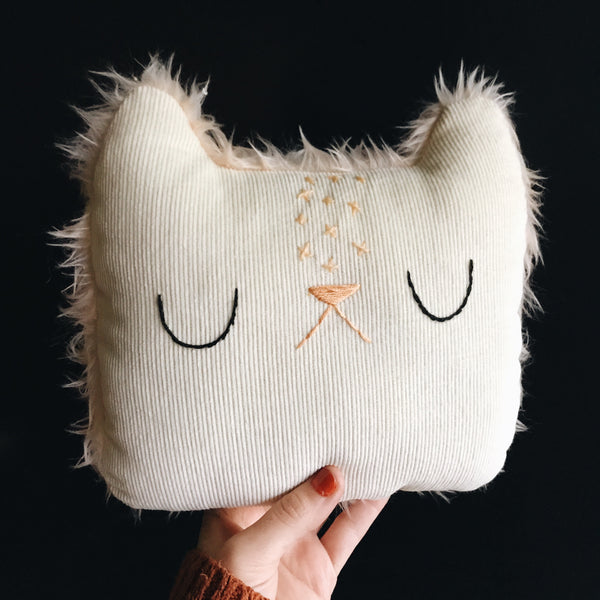 Cream velveteen corduroy sleepy cat with stars on her head - Large Pillow - Ready to Ship