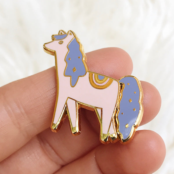Indigo the pony - Hard Enamel Pin with Gold Lines - Ready to Ship - sleepy king