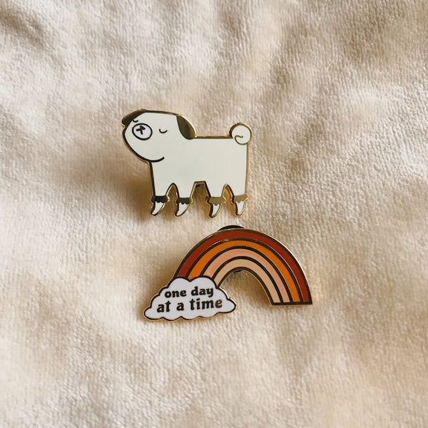 One Day At a Time Rainbow - Rust - Hard Enamel Pin - sleepy king