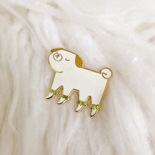 BUY 2 PINS, GET 1 FREE! 🔸 Georgina the fancy golden pug - Hard Enamel Pin - Ready to Ship - sleepy king