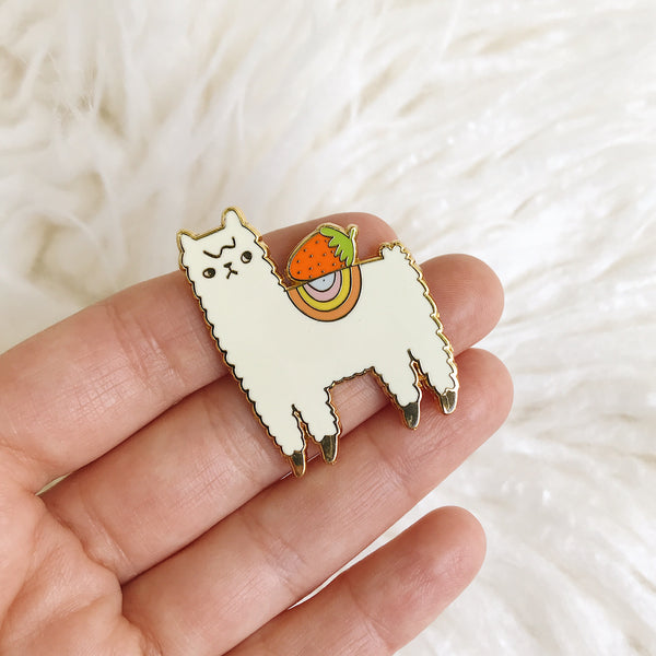 Strawberry Alpaca - Enamel Pin with Gold Lines - Ready to Ship - sleepy king