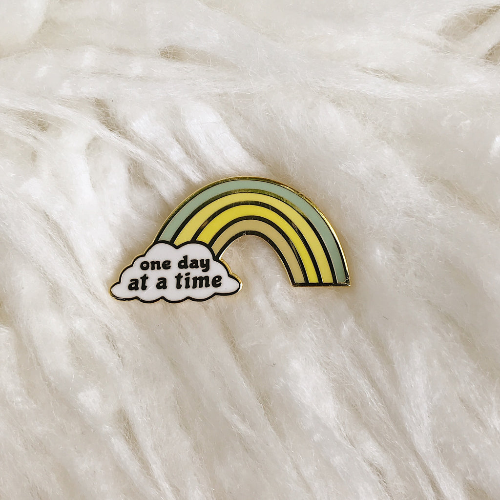 One Day At a Time Rainbow - Seafoam - Hard Enamel Pin with Gold Lines - Ready to Ship - sleepy king