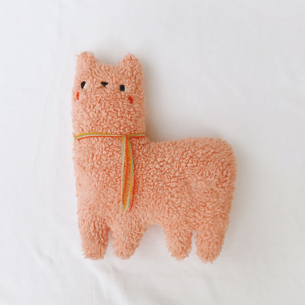 Papaya the Alpaca - made of organic cotton sherpa - Ready to Ship - sleepy king