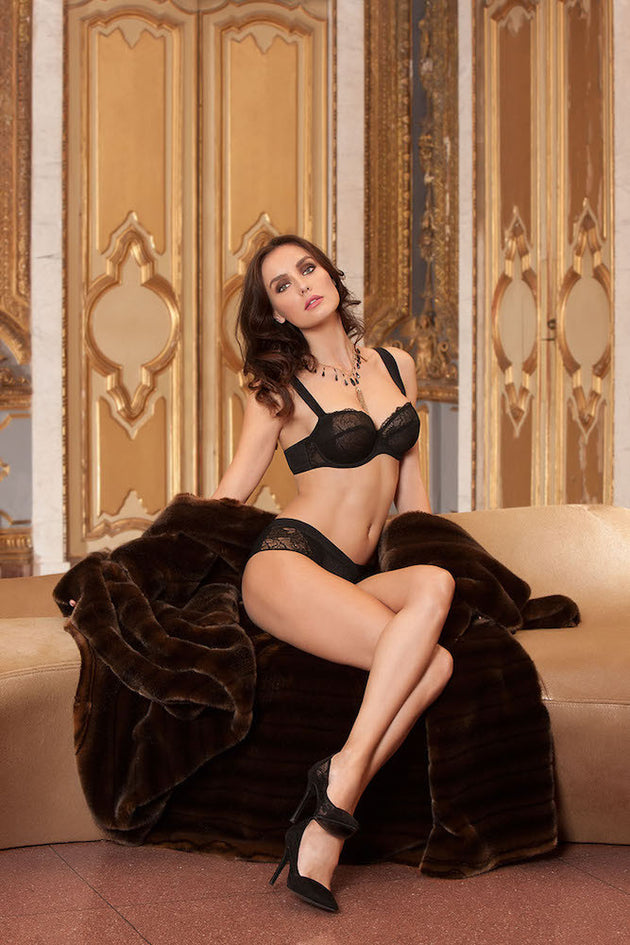 Eprise Dentelle Graphique Demi Bra Noir teddies for bettys