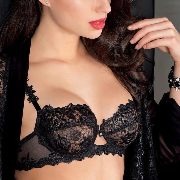 lise charmel ajourage petales demi cup bra noir teddies for bettys