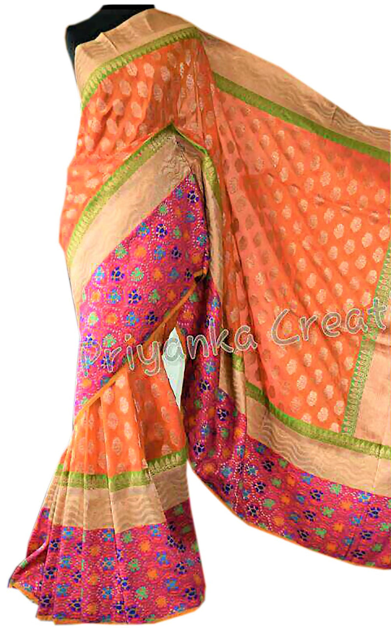 Silk HandWoven Saree with blue border
