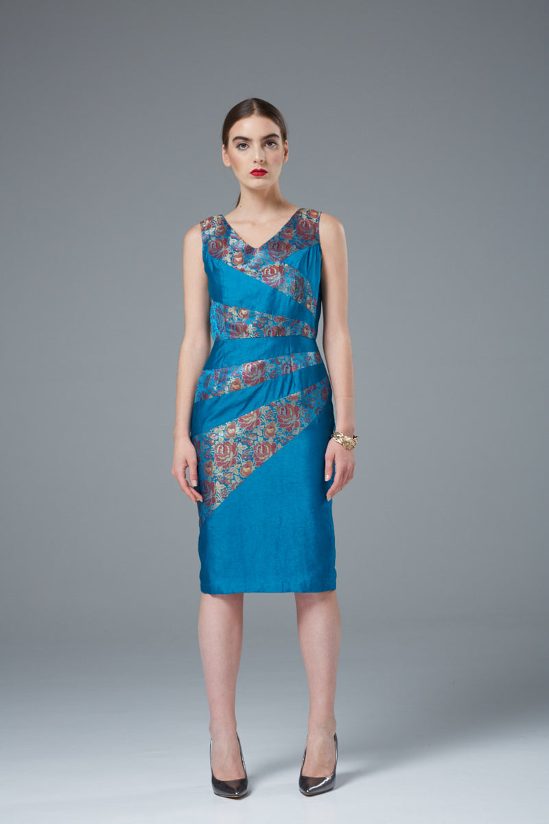 Blue Strap Silk Evening Dress