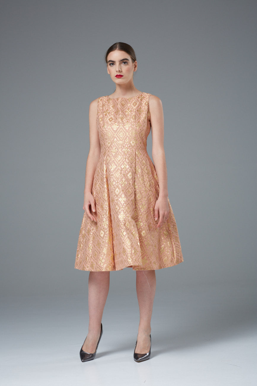 Peach Silk Evening Dress