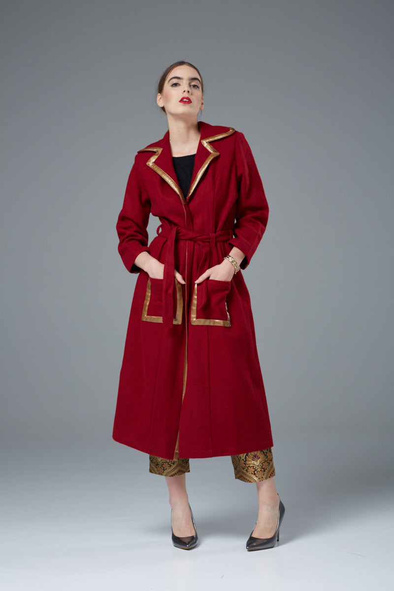 Designer Long Coat - Pure Wool