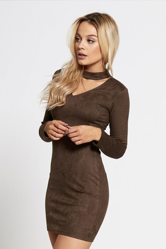 Choker Neck Mini Dress, Faux Suede