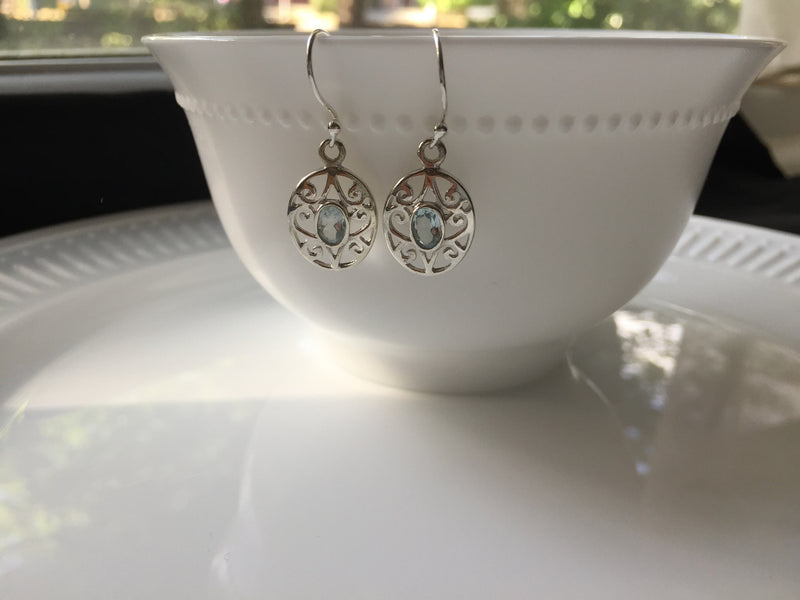 Aquamarine Sterling Silver Hook Earring