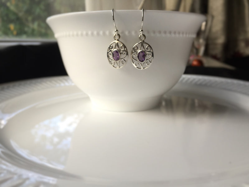 Amethyst Sterling Silver Hook Earring