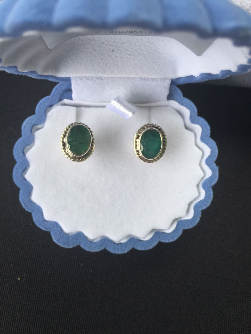 Dyed Emerald Sterling Silver Studs