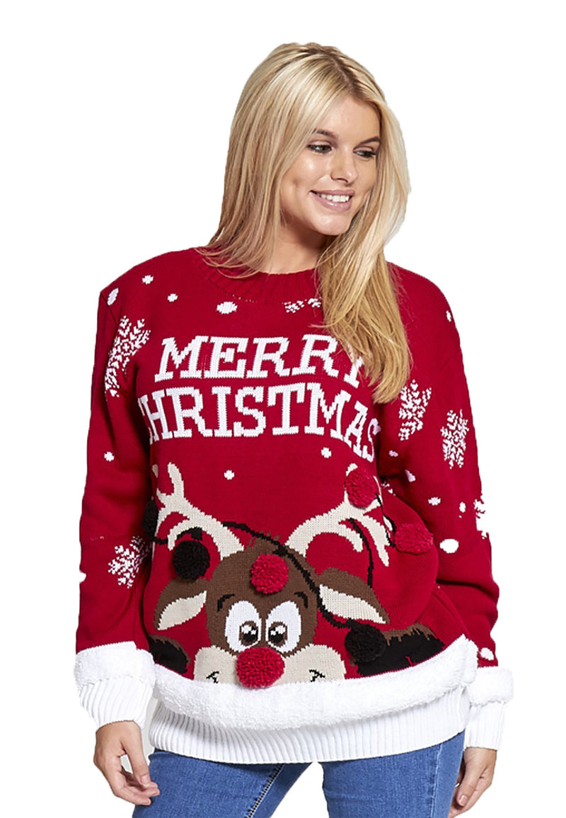 Merry Christmas Reindeer Knitted Jumper
