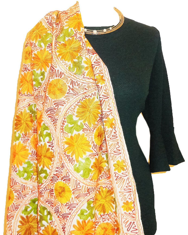 Stunning pashmina stole/ shawl with embroidery