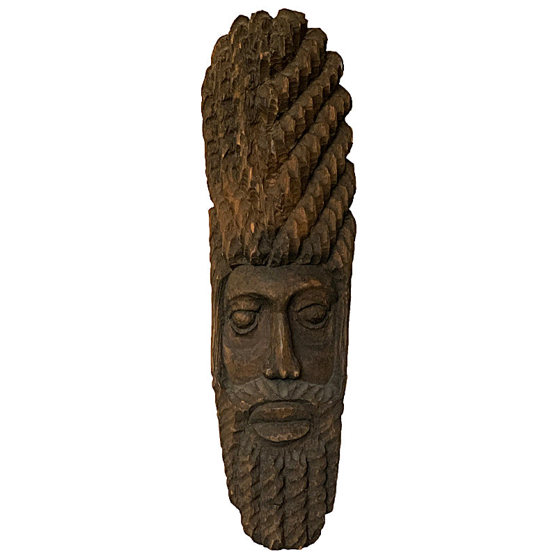 VINTAGE BEARDED CARVED WOODEN MASK