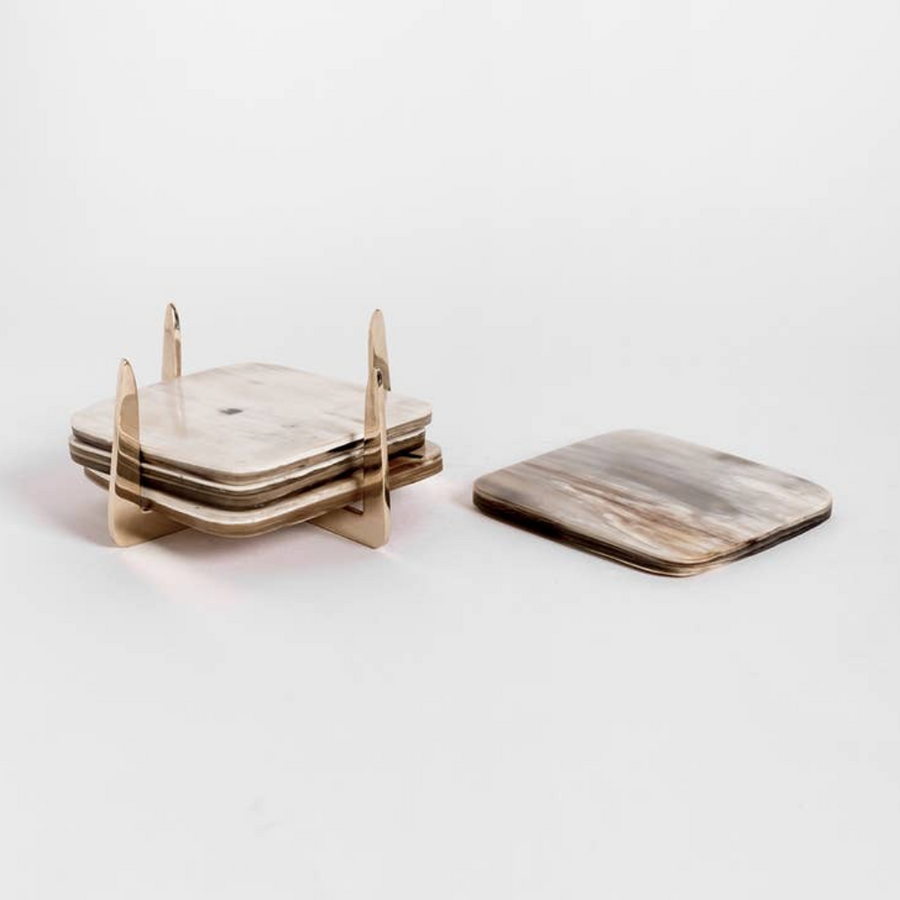 Pure Brass & Ankole Horn Coaster Set / Light