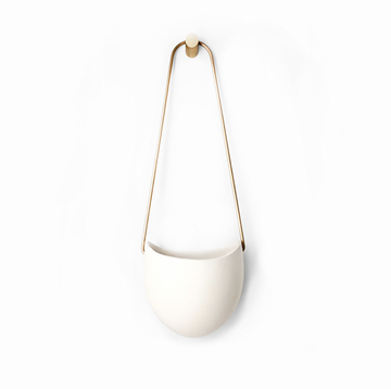 WHITE SPORA PLANTER W/ BRASS HANGER AND WALL HOOK