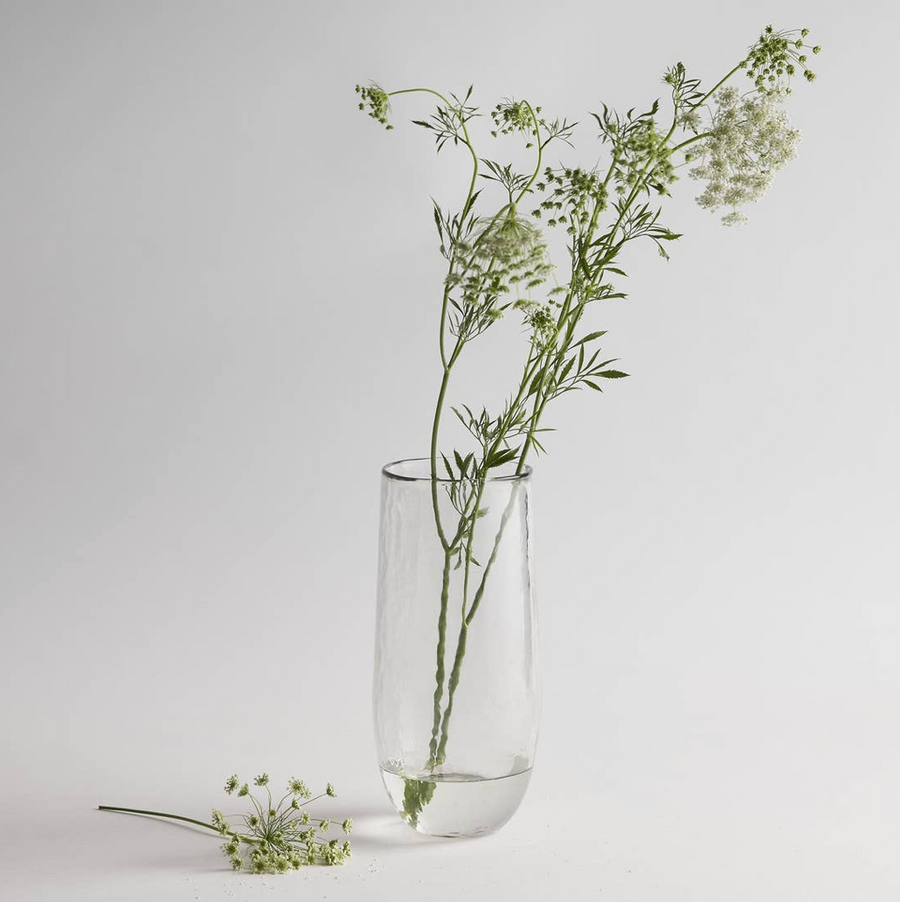 Tall Pebbled Glass Vase