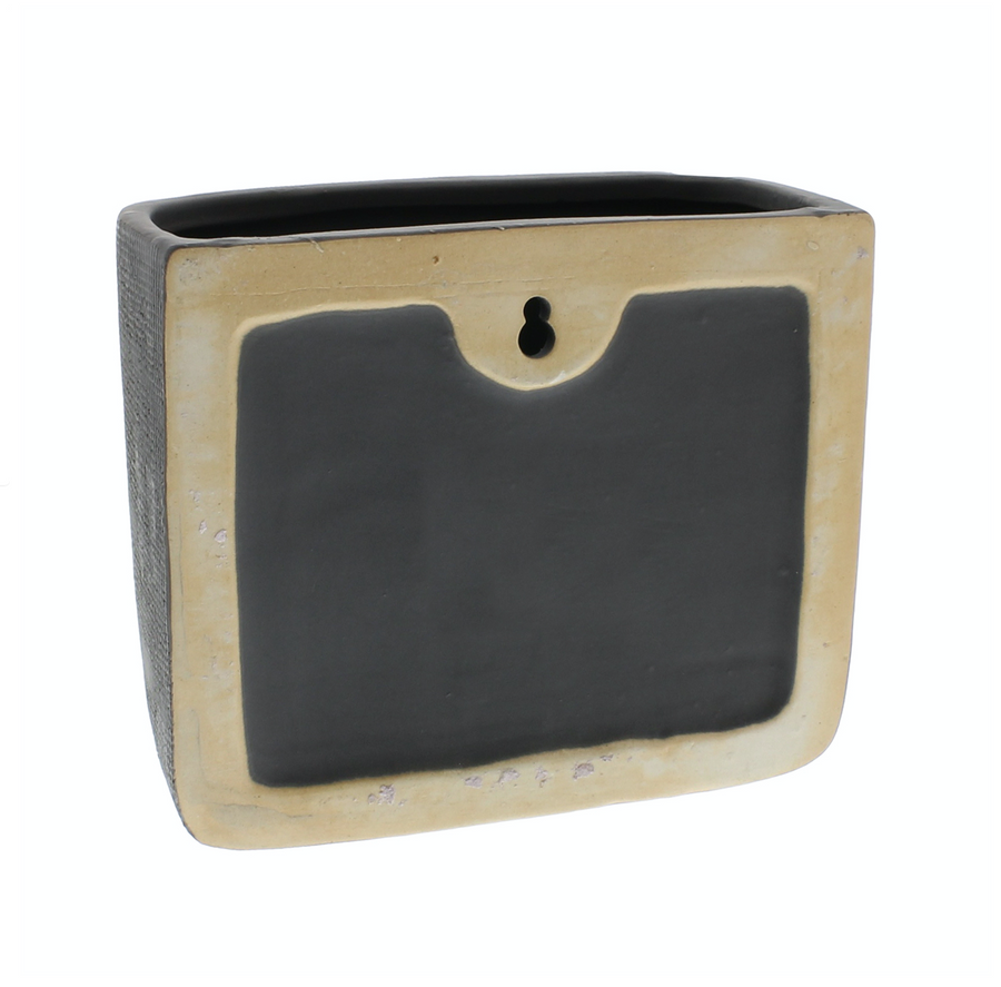 GREY CERAMIC WALL POCKET