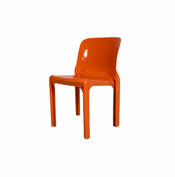 Vintage Flash Orange Selene Chair by Vico Magistretti for Artemide