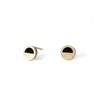 HALF STUDS - gold plated brass, black suede
