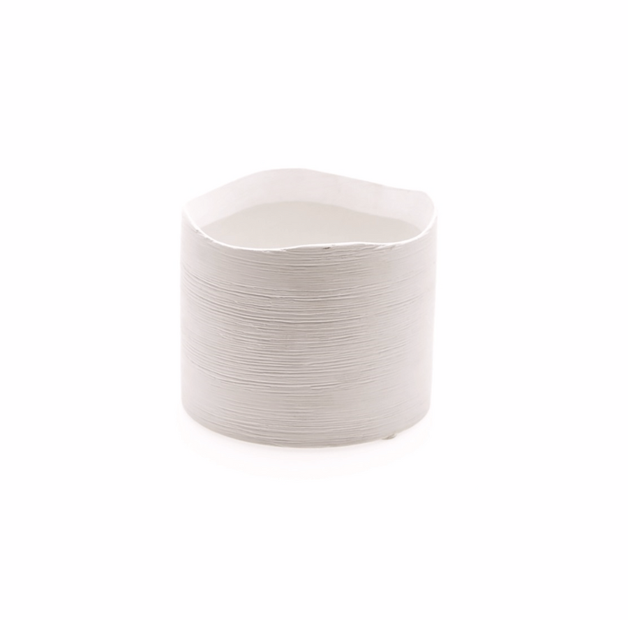 Textured Matte White Cylinder Pot