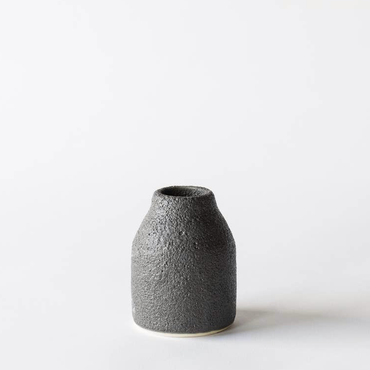 Crater Bottle Vase /  Medium / Black