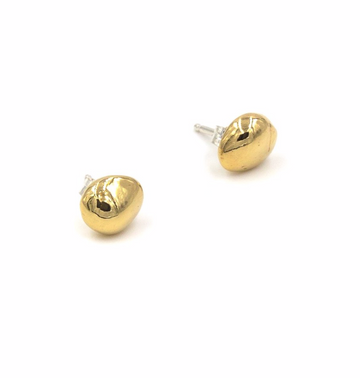 Brass Round Pebble Stud Earrings