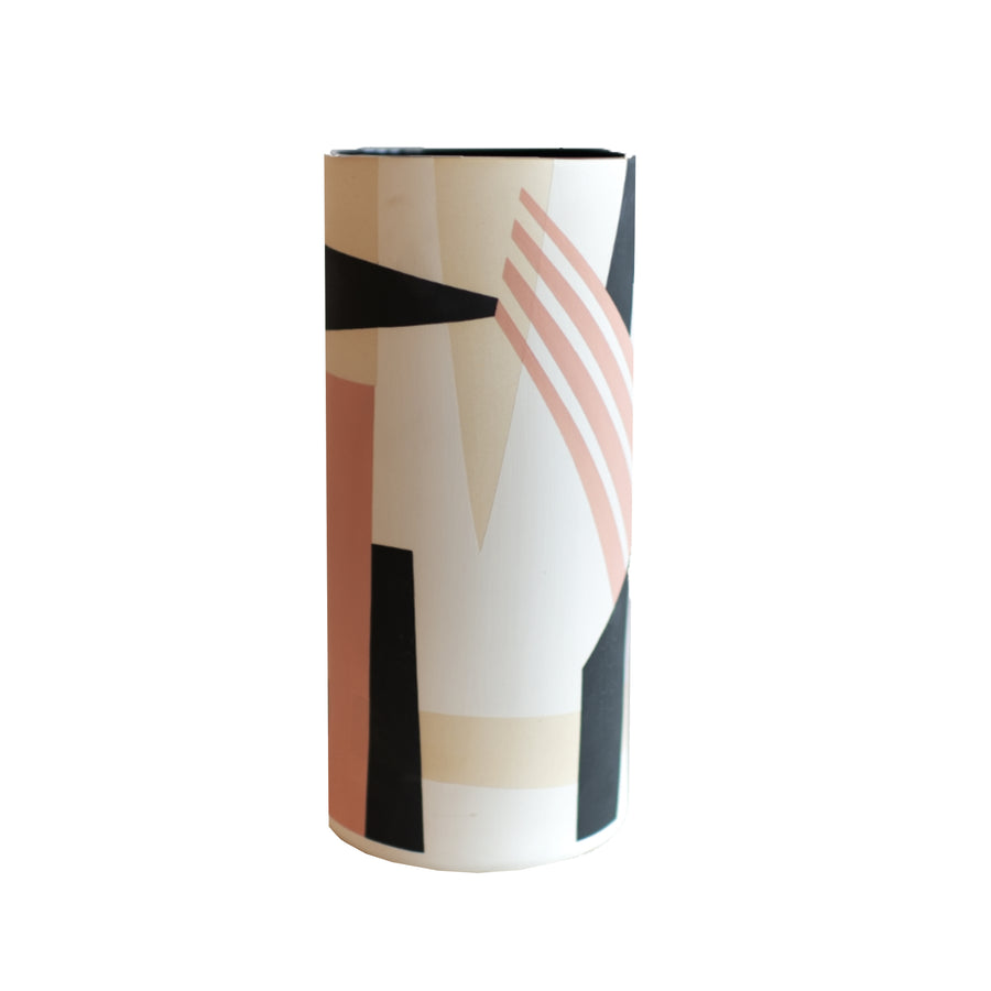 Sally Blair Blush and Ivory CERAMIC CYLINDER Geometric VASE