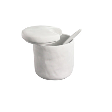 Stoneware Cellar and Spoon White