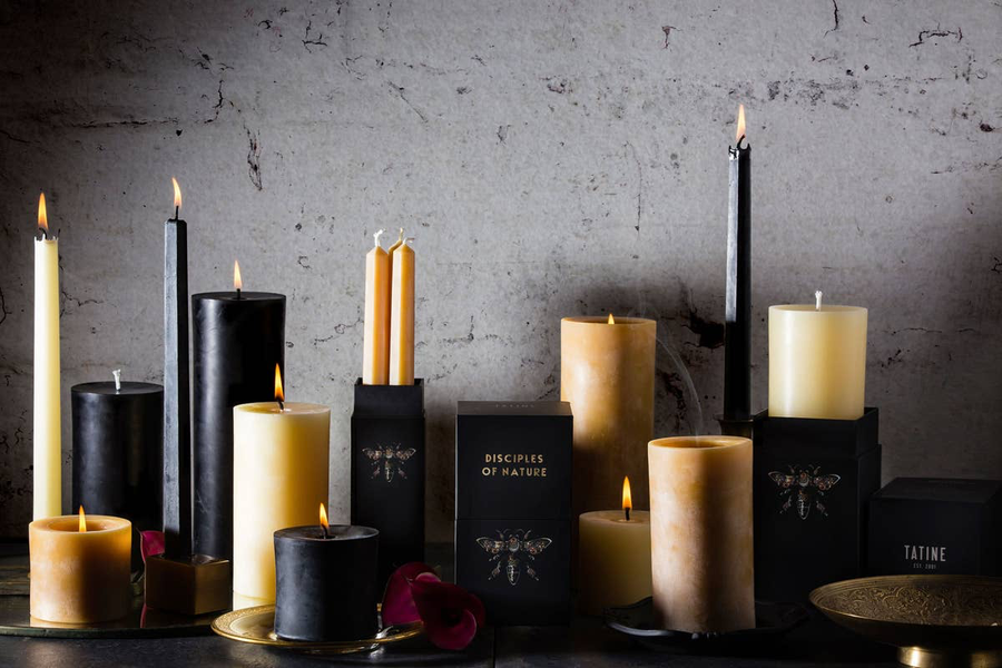 BEESWAX TAPER CANDLES - Set/4 BLACK
