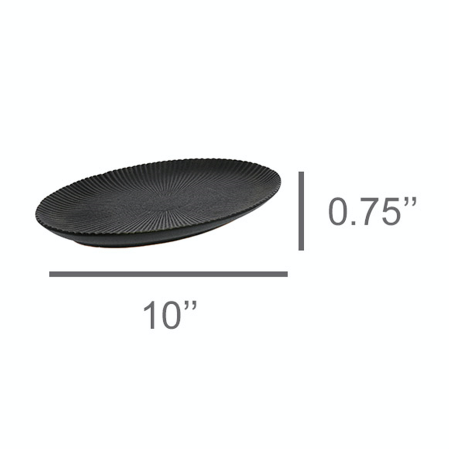 CERAMIC BLACK RIBBED OVAL PLATE