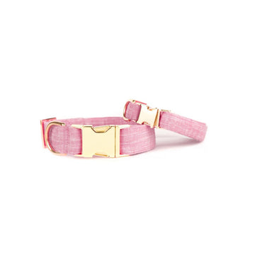 Pink Chambray Dog Collar