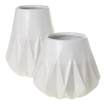 2 TONE DIAMOND WHITE VASE
