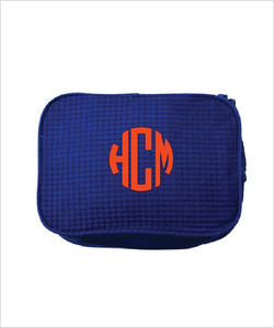 Monogrammed Waffled Cosmetic Bag
