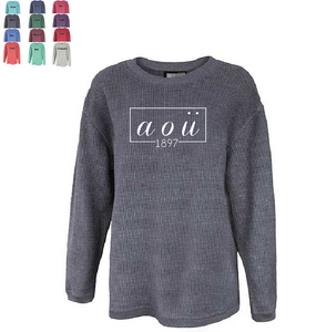 Alpha Omicron Pi // Washed Corded Crewneck (Coneria)