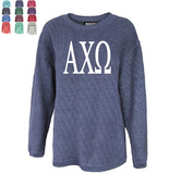 ALPHA CHI OMEGA WASHED CORDED CREWNECK