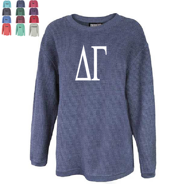 DELTA GAMMA WASHED CORDED CREWNECK