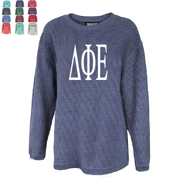 DELTA PHI EPSILON WASHED CORDED CREWNECK