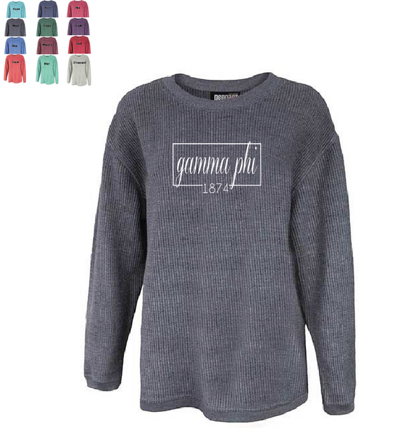 Gamma Phi Beta // Washed Corded Crewneck (Coneria)